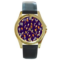Seamless Cartoon Ice Cream And Lolly Pop Tilable Design Round Gold Metal Watch