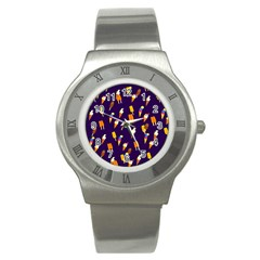 Seamless Cartoon Ice Cream And Lolly Pop Tilable Design Stainless Steel Watch