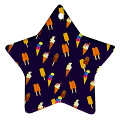 Seamless Cartoon Ice Cream And Lolly Pop Tilable Design Star Ornament (Two Sides)
