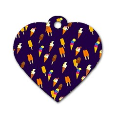 Seamless Cartoon Ice Cream And Lolly Pop Tilable Design Dog Tag Heart (One Side)