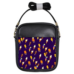 Seamless Cartoon Ice Cream And Lolly Pop Tilable Design Girls Sling Bags