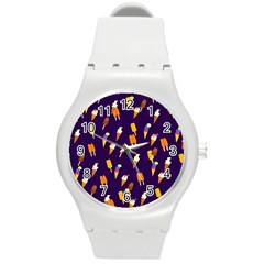 Seamless Cartoon Ice Cream And Lolly Pop Tilable Design Round Plastic Sport Watch (M)
