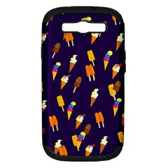 Seamless Cartoon Ice Cream And Lolly Pop Tilable Design Samsung Galaxy S Iii Hardshell Case (pc+silicone)