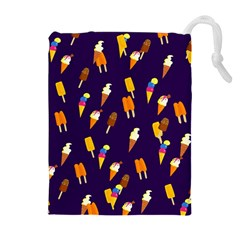 Seamless Cartoon Ice Cream And Lolly Pop Tilable Design Drawstring Pouches (Extra Large)