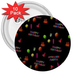 Cartoon Birthday Tilable Design 3  Buttons (10 pack)