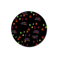 Cartoon Birthday Tilable Design Rubber Round Coaster (4 pack)