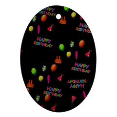 Cartoon Birthday Tilable Design Oval Ornament (Two Sides)