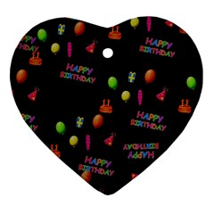 Cartoon Birthday Tilable Design Heart Ornament (Two Sides)