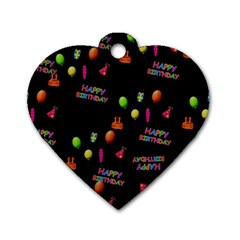 Cartoon Birthday Tilable Design Dog Tag Heart (two Sides)