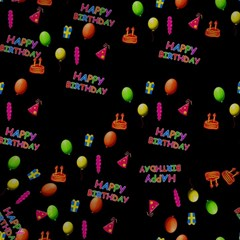 Cartoon Birthday Tilable Design Magic Photo Cubes
