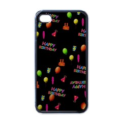 Cartoon Birthday Tilable Design Apple iPhone 4 Case (Black)