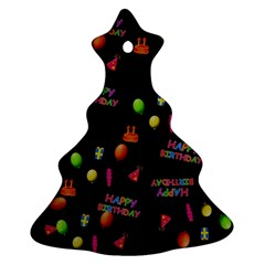 Cartoon Birthday Tilable Design Christmas Tree Ornament (Two Sides)