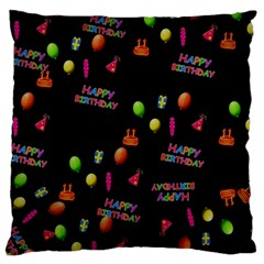 Cartoon Birthday Tilable Design Large Flano Cushion Case (One Side)
