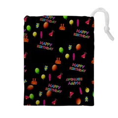 Cartoon Birthday Tilable Design Drawstring Pouches (Extra Large)