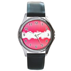 Digitally Designed Pink Stripe Background With Flowers And White Copyspace Round Metal Watch