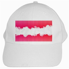 Digitally Designed Pink Stripe Background With Flowers And White Copyspace White Cap