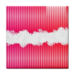 Digitally Designed Pink Stripe Background With Flowers And White Copyspace Tile Coasters
