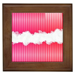 Digitally Designed Pink Stripe Background With Flowers And White Copyspace Framed Tiles