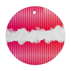 Digitally Designed Pink Stripe Background With Flowers And White Copyspace Ornament (Round)