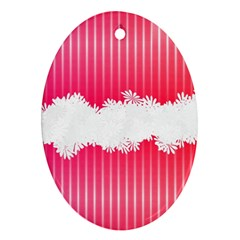 Digitally Designed Pink Stripe Background With Flowers And White Copyspace Ornament (oval)