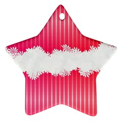 Digitally Designed Pink Stripe Background With Flowers And White Copyspace Ornament (Star)