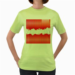 Digitally Designed Pink Stripe Background With Flowers And White Copyspace Women s Green T-Shirt