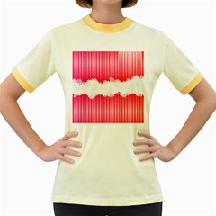 Digitally Designed Pink Stripe Background With Flowers And White Copyspace Women s Fitted Ringer T Shirts