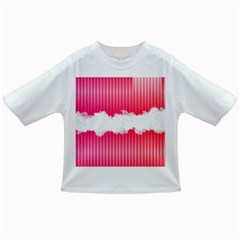 Digitally Designed Pink Stripe Background With Flowers And White Copyspace Infant/Toddler T-Shirts