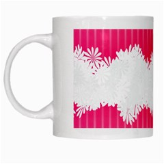 Digitally Designed Pink Stripe Background With Flowers And White Copyspace White Mugs