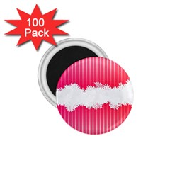 Digitally Designed Pink Stripe Background With Flowers And White Copyspace 1.75  Magnets (100 pack)