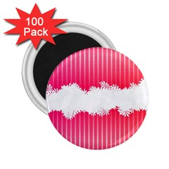 Digitally Designed Pink Stripe Background With Flowers And White Copyspace 2 25  Magnets (100 Pack)
