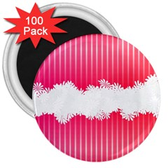 Digitally Designed Pink Stripe Background With Flowers And White Copyspace 3  Magnets (100 Pack)
