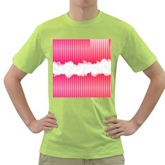 Digitally Designed Pink Stripe Background With Flowers And White Copyspace Green T Shirt