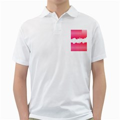 Digitally Designed Pink Stripe Background With Flowers And White Copyspace Golf Shirts