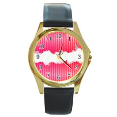 Digitally Designed Pink Stripe Background With Flowers And White Copyspace Round Gold Metal Watch