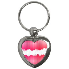 Digitally Designed Pink Stripe Background With Flowers And White Copyspace Key Chains (heart)