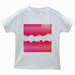 Digitally Designed Pink Stripe Background With Flowers And White Copyspace Kids White T-Shirts