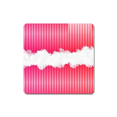 Digitally Designed Pink Stripe Background With Flowers And White Copyspace Square Magnet