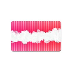 Digitally Designed Pink Stripe Background With Flowers And White Copyspace Magnet (name Card)