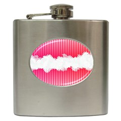 Digitally Designed Pink Stripe Background With Flowers And White Copyspace Hip Flask (6 oz)