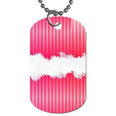 Digitally Designed Pink Stripe Background With Flowers And White Copyspace Dog Tag (two Sides)