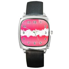 Digitally Designed Pink Stripe Background With Flowers And White Copyspace Square Metal Watch