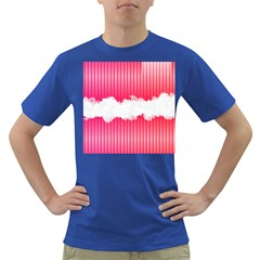 Digitally Designed Pink Stripe Background With Flowers And White Copyspace Dark T-Shirt
