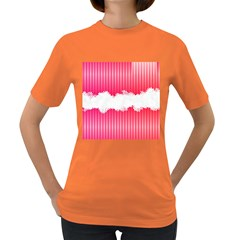 Digitally Designed Pink Stripe Background With Flowers And White Copyspace Women s Dark T-Shirt