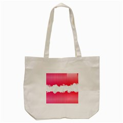 Digitally Designed Pink Stripe Background With Flowers And White Copyspace Tote Bag (Cream)