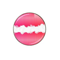Digitally Designed Pink Stripe Background With Flowers And White Copyspace Hat Clip Ball Marker