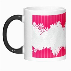 Digitally Designed Pink Stripe Background With Flowers And White Copyspace Morph Mugs