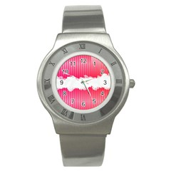 Digitally Designed Pink Stripe Background With Flowers And White Copyspace Stainless Steel Watch