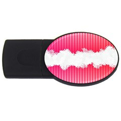 Digitally Designed Pink Stripe Background With Flowers And White Copyspace Usb Flash Drive Oval (4 Gb)