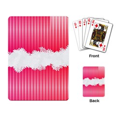 Digitally Designed Pink Stripe Background With Flowers And White Copyspace Playing Card